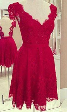 Elegant V neck Low Back Red Lace Dress