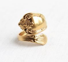 Vintage Spoon Ring - Adjustable 14k Gold Plated WMA Rogers Oneida Ltd. Retro Bypass Flatware Vanessa Magnolia Retro Costume Jewelry by Maejean Vintage on Etsy, $48.00