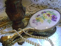 Victorian Hand Painted Porcelain Pansy Mirror by divinedecorating