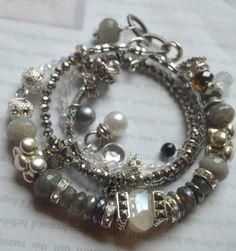 ON SALE chunky bracelet, artisan bracelet, labradorite bracelet, moonstone bracelet, wrap bracelet, hematite bracelet, pearl bracelet