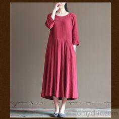 2016 red linen long sundress plus size summer maxi dresses loose linen clothing