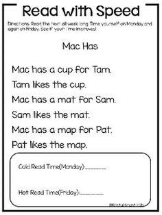 Read with speed! Fluency passages for emerging readers. Phonics Reading, Reading Activities, Reading Skills, Guided Reading, Teaching Reading, Reading Comprehension, Kindergarten Language Arts, Classroom Language, Kindergarten Literacy