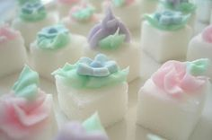 Pretty sugar cubes. My mum always used to serve tea with dainty little sugar cubes or sugar coloured pink.........