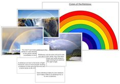 Rainbow Pictures & Fast Facts - This set includes 25 fast fact cards, 11 pictures of rainbows ,a color chart and blackline master of rainbow colors. A great addition to your Montessori science curriculum. Montessori Science, Science Curriculum, Science Lessons, Rainbow Facts, Weather Tracking, Science Area, Weather Cards, My Teacher, Teacher Office