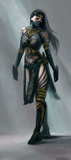 Looks like Mortal Kombat (inspired?) female character....Kitana? Mileena?