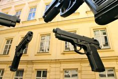David Cerny's Guns installation in the courtyard of the Artbanka Museum of Young Art in Prague, Czech Republic