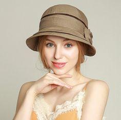 8da89f1f85e Womens bow bucket hat for summer UV sun hats outdoor wear
