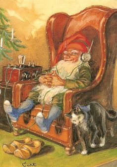 Kiireinen joulutonttu ja kissa <3 Christmas Gnome, Scandinavian Christmas, Vintage Christmas, Troll, David The Gnome, Baumgarten, Elves And Fairies, Scandinavian Gnomes, Fantasy Dragon