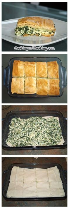 Here is a simple and delicious Spinach Pie Recipe made with phyllo pastry, spinach, ricotta and feta cheese. Spinach Recipes, Vegetable Recipes, Vegetarian Recipes, Cooking Recipes, Turkey Recipes, Pie Recipes, Recipies, I Love Food, Good Food
