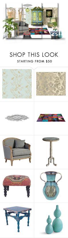 """Old times"" by housebybianca on Polyvore featuring interior, interiors, interior design, thuis, home decor, interior decorating, Timorous Beasties, Ballard Designs, Bliss Studio en NOVICA"