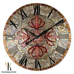 Modern Vintage - Mosaic Clock - Exquisite Mosaic Art featuring Glass mosaic tiles + Stained glass
