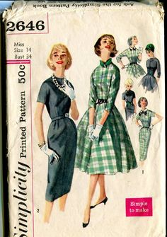 Simplicity 2646 Simple to make  Vintage 50s Tailored Dress Pattern with Detachable Collars and bows. $7.00, via Etsy.