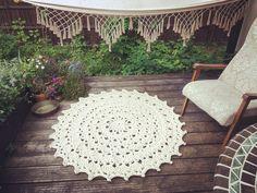 Exquisite Mandala carpet by Merle Holm in a stunning scandinavian style summer terrace. Carpet Design, Style Summer, Scandinavian Style, Terrace, Garden Ideas, Mandala, Living Room, Interior Design, Pets