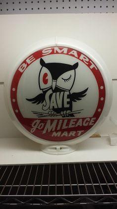 Vintage Mileage Mart gas pump globe w/ Owl