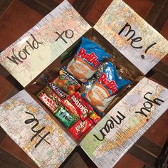 Care package for my boyfriend who's going to school away from home. His favorite snacks & pictures of us.