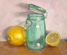 "Daily Paintworks - ""Lemons and Jar Still Life"" by Manuel Bascon Moyano"