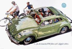 VW typ 117 Sonnendach Golde. Ilustración de Viktor Mundorff.1961