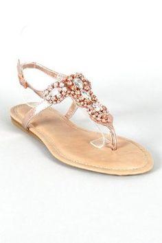 efddea2ed06 Bamboo Steno-92 Metallic Rhinestone T-Strap Flat Sandal IN ROSE GOLD (10