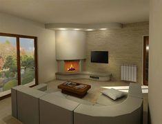 Render camini moderni (40) Small Fireplace, Modern Fireplace, Fireplace Design, Corner Stove, Bathroom Design Small, Home Renovation, Living Room Designs, House Plans, Modern Design