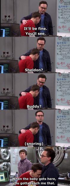 He just fell asleep hahah Big Bang Memes, Big Bang Theory Quotes, Big Bang Theory Funny, The Big Band Theory, Sheldon Cooper Quotes, Dark Humour Memes, Memes Humor, Tv Show Quotes, Comedy Tv