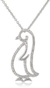 """Good price. Silver and Diamond Baby Penguin Pendant Necklace (1/20 cttw, I-J Color, I3 Clarity), 18"""""""