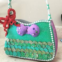 Nyx purse 2017. Krewe of Nyx. The little mermaid. Ariel. Made by @purseanalities - follow on Instagram.