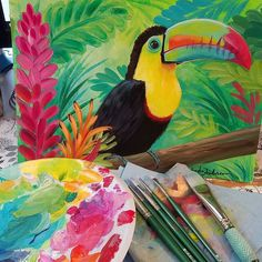 Earth Day Jungle Collab tomorrow on YouTube Rainbow Toucan Acrylic Painting by Angela Anderson #jungle #rainforest #earthday #toucan #angelooney #acrylicpaint