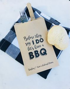 Personalized rehearsal dinner menu bags to hold bread or utensils! Totally customizable, include all of your details below & input your desired quantity next to the Add to cart button! Rehearsal Dinner Menu, Rehearsal Dinner Decorations, Wedding Rehearsal, I Do Bbq, Couple Shower, Bbq Party, Custom Bags, Brown Paper, Wedding Planning