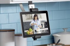 Media Clamp Holders -  Keep your favorite tablet apps front and center without using up counter space. Adjustable media holders ($50) clamp securely to upper cabinets so you can conveniently keep recipes and YouTube cooking instructions right at your fingertips. Image: Belkin Intl.