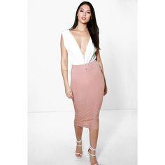 Boohoo Night Willow Slinky Rib Midi Skirt ($16) ❤ liked on Polyvore featuring skirts, blush, midi skirt, cocktail skirt, mini skirt, white skirt i white party skirt