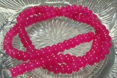 Full Strand Magenta Jade 6x3mm Smooth Rondelle Gemstone Beads