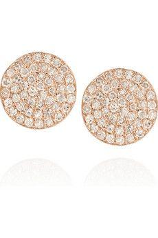 Anita Ko 18-karat rose gold and diamond disc earrings | NET-A-PORTER