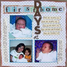 layout ideas for scrapbooking | More Baby Scrapbook Pages - First Days at Home