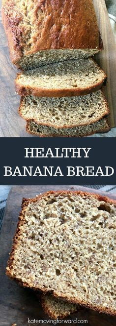 Healthy Banana Bread - This banana bread recipe is a delicious snack or breakfast thanks to added protein and reduced sugar and oil! This healthy snack mixes up fast and is a great way to use up overripe bananas. #healthysnack #healthybananabread #bananabreadrecipe #bananabread #katemovingforward #healthyrecipe