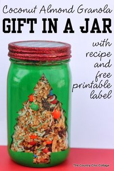 Coconut Almond Granola Gift in a Jar -- get this recipe and free printable for a wonderful gift in a jar that anyone will love.