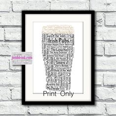 Pint of Irish Pubs With Some of the Best Known Pubs by JumbleinkArt on Etsy Molly Malone, Irish Quotes, Irish Art, Frame Shop, Ireland, Messages, Words, Prints, Etsy