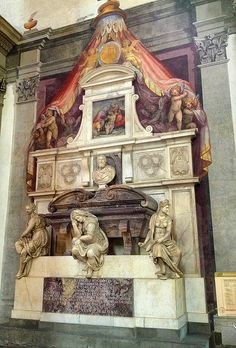 #Italy  #Florence #cathedrals Tomb of Michelangelo (Artist), Basilica di Santa Croce, Florence, Italy by Ron Gunzburger, via Flickr