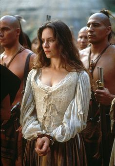 "Madeline Stowe, what a beauty. I loved her costume in ""Last of the Mohicans"" - it's simple yet beautiful, that neck line and the billowed sleeves really do it for me. She looked untamed and passionate."