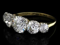 victorian 5 diamond ring with a total weight of 4.35cts
