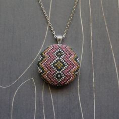 Friendship cross stitch necklace/ pendant by TheWerkShoppe on Etsy, $44.00