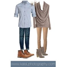 Casual outfit for engagement photos - beige and chambray
