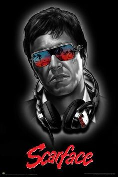 A remake of the 1932 film of the same name, Scarface tells the story of Cuban refugee Tony Montana (Al Pacino) who arrives in Miami with nothing, and rises up to become a powerful drug kingpin. Scarface Film, Scarface Poster, Scarface Quotes, Al Pacino, Scare Face, Arte Banksy, Mafia Gangster, Vaporwave Art, Alternative Movie Posters