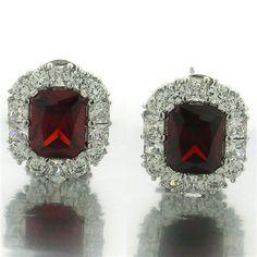 Garnet CZ Leverback Earrings Wholesale Sterling and Genuine Gems paradisojewelry.com