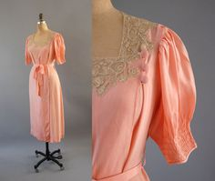 1930s Robe / Lace and Button Robe / 30s. $138.00, via Etsy.