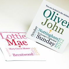 christening words invitation: pink or blue by spotty n stripy | notonthehighstreet.co