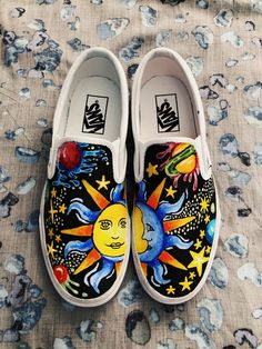 🌏 An out of this world pair of customs 🌞🌛 A new version of my other galaxy vans with big focus on the sun & moon. Super super fresh and I'm obsessed ⭐️⭐️⭐️ Galaxy vans designed by me and created for Painted Canvas Shoes, Painted Vans, Custom Painted Shoes, Painted Sneakers, Hand Painted Shoes, Vans Slip On, Slip On Shoes, Vans Shoes Fashion, Custom Vans Shoes