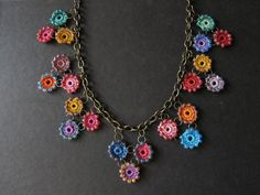 Crochet necklace with beads