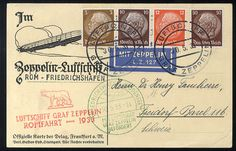 German Empire, 1933/45 Third Reich. 1933 Roma Flight picture postcard cancelled on board, with special cachet, red handstamp Romafahrt 1933, green Friedrichshafen (30 May 33) pmk, addressed to Switzerland, v.f., signed Diena