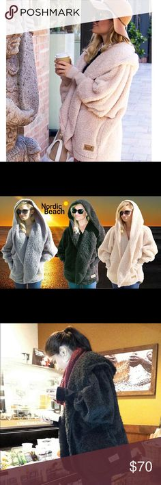 Nordic Beach Fluffy Jacket The comfiest, warmest, and highly fashionable jacket to own and wear. You can order yours 100% brand new with tags. Select your color of choice: Nude, Gray, or Black! Wearing a jacket as soft as a blanket has never been so fashionable and cozy! ***One size fits all Nordic Beach Jackets & Coats