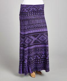 Look what I found on #zulily! Purple & Black Geometric Maxi Skirt - Plus #zulilyfinds